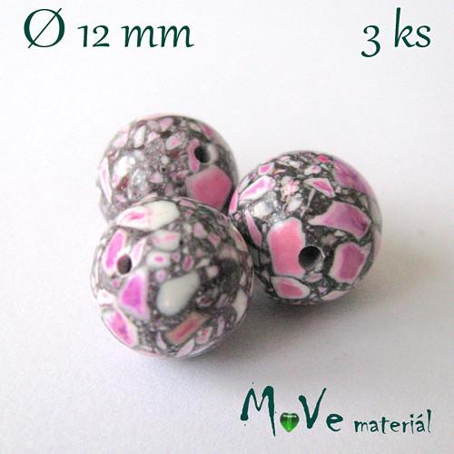 Korálky Marble růžová 12 mm 3 ks