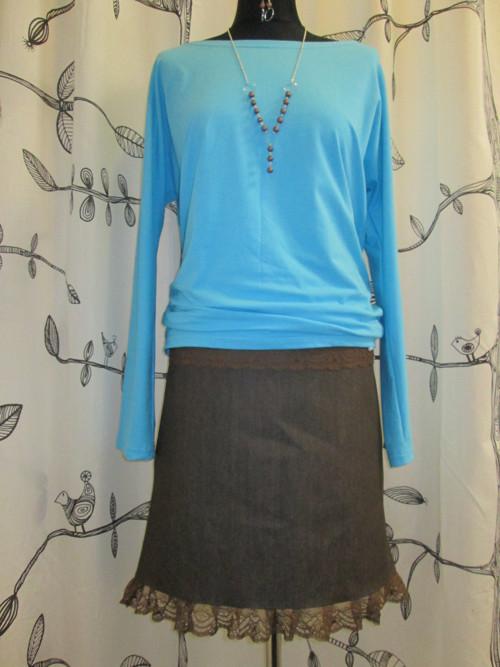 Riflová sukně hnědá s krajkou