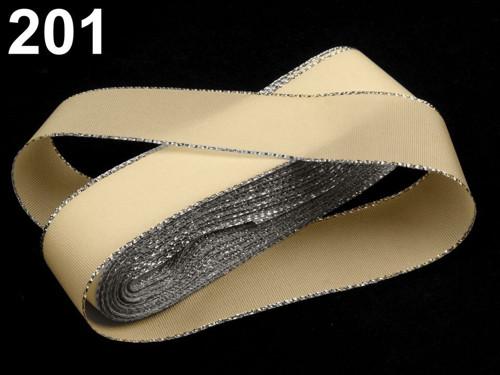 Taftová stuha s lurexem 25mm (10m) - béžová stříb.