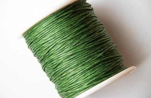 voskovaná šňůrka 10m- olivově zelená