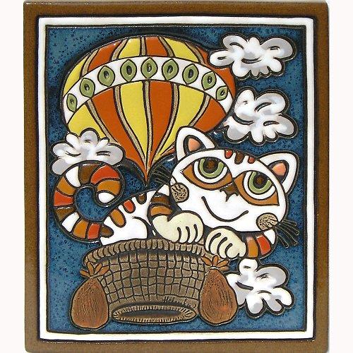 Keramický obrázek - Kočka a balon K-101-M-ZL
