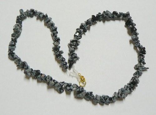 Náhrdelník - obsidián sněhový (ec49)