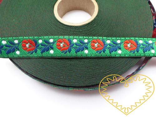 Zelená krojová stuha se vzorem - vzorovka š 1,8 cm