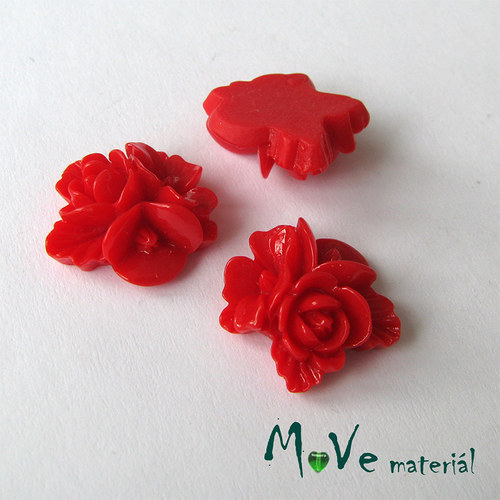 Kabošon květy lesklý A8 - resin - 2ks, červený