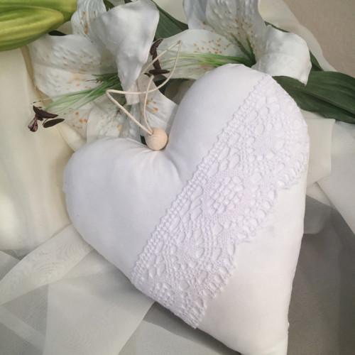 Velké dekorační srdíčko- bílé