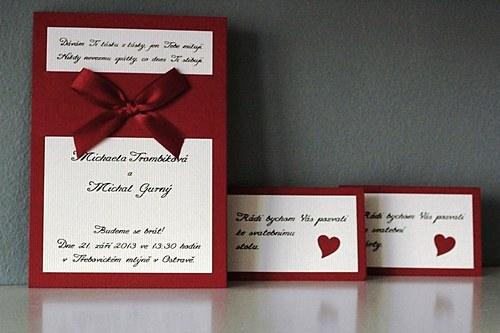 Svatební oznámení + pozvánka ke stolu + obálka !!!