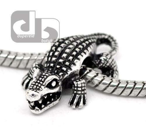 Stříbrný krokodýlek na hrubý řetízek 1 ks