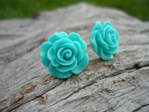 Náušnice Růžičky Tyrkysové napichovačky