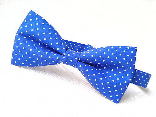 Blue bow tie with small white polka dots