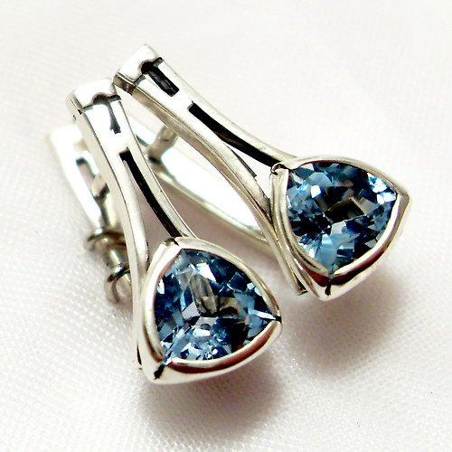 Náušnice «Tulipán» - stříbro 925, modrý topaz