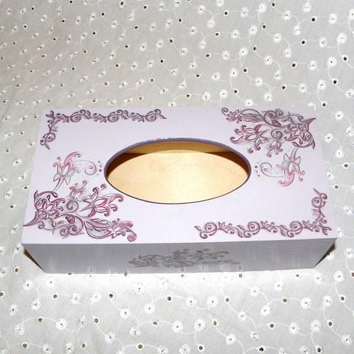 Krabička na kapesníky - fialová fantazie