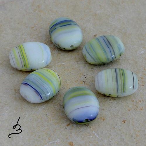 Zeleno-modro-žluté oválky, 10 ks