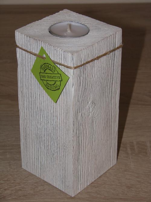 1 dílný svícen Provance bílý 17 cm - 1 ks