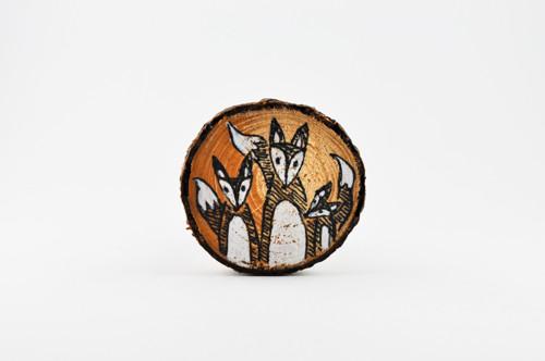 Dřevěná brož - Liška - dárkový sáček