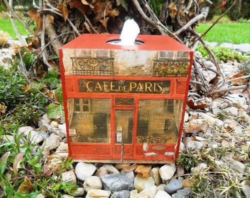 """Krabička na kapesníky \""""CAFE DE PARIS\"""""""