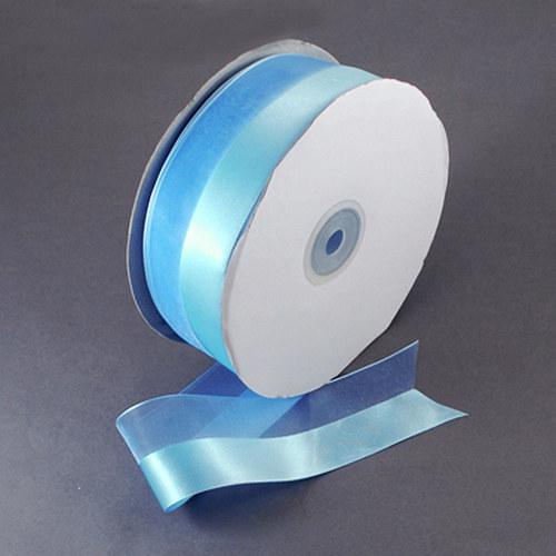 stuha šifon - atlas /25mm/ modrá / 1m