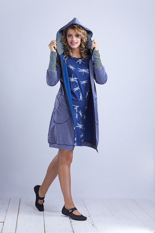 Coat Softshell Blue and Blue Stripes