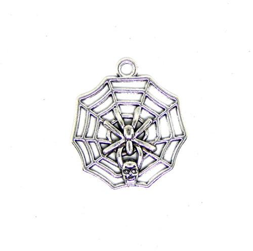 Přívěsek kovový pavučina s pavoukem, 2ks