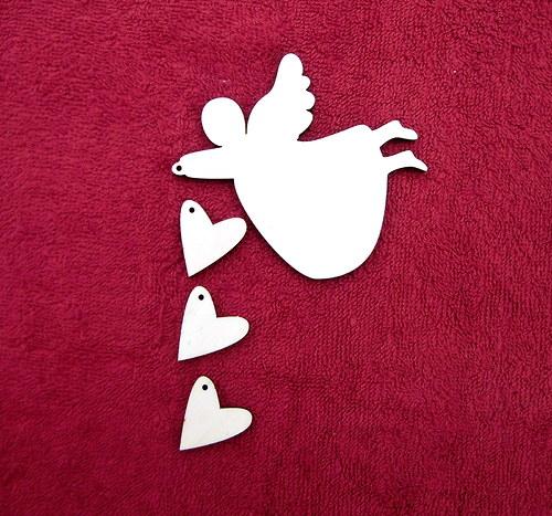 Závěsná dekorace anděl+srdce č. 2