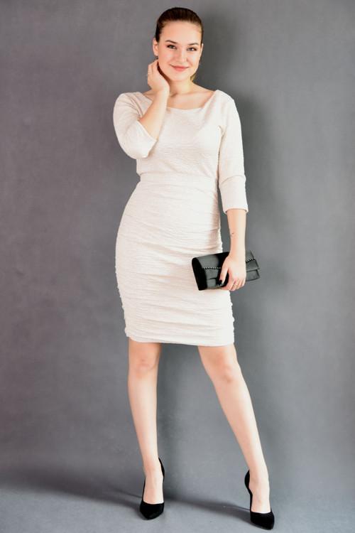 Elegantí společenské šaty smetanovo-béžové