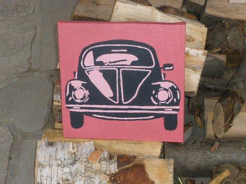 Retro růžový volkswagen beetle