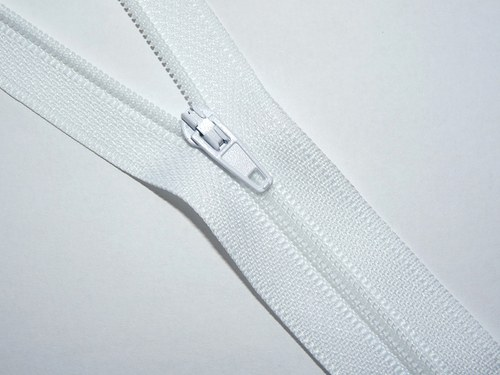 Zip / zdrhovadlo - bílý, nedělitelný, 30cm - 10ks