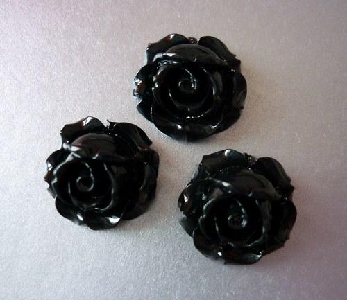 c43 / kabošon růžička černá /15x15x8mm / 3ks