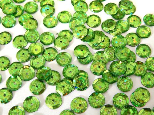 Flitry s dírkou, kulaté, našívací, zelená třpyt