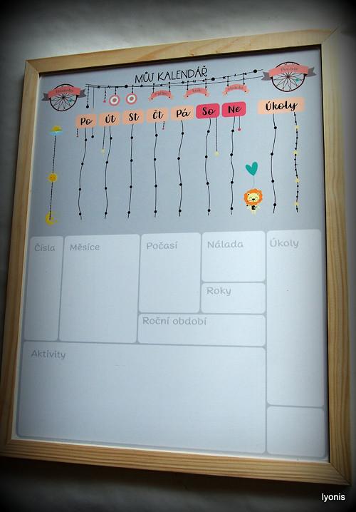 Dřevěná plánovací magnetická tabule Lyonis