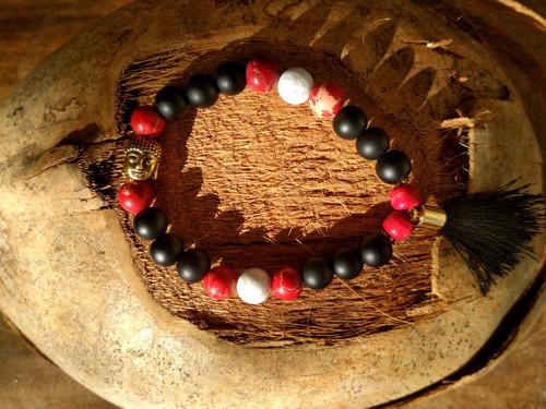 EnergetickýBuddha Náramek-Onyx s červeným jaspisem