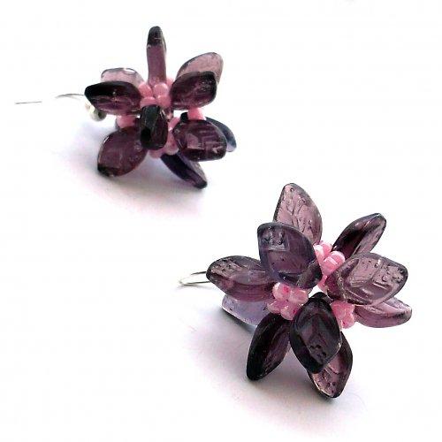 Růžovofialové mnohokvěté náušnice - 20% sleva