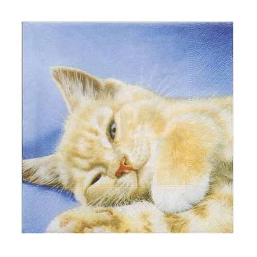Ubrousek na decoupage kočka