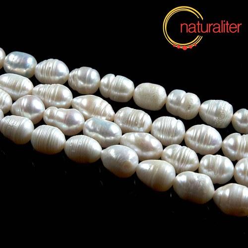 Říční perly rýžové bílé, 10-12 mm, B, návlek 34cm