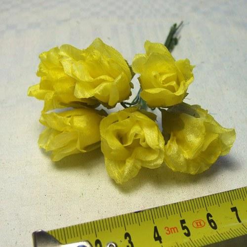 Květy růží na drátku - 6 ks světle žluté