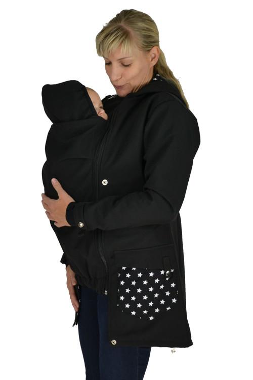 Softshellový nosící kabát jaro/podzim,černý s hvěz