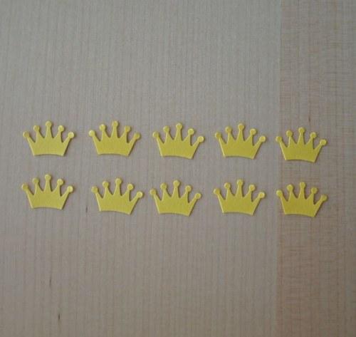 Výseky - korunky malé žluté - 10ks