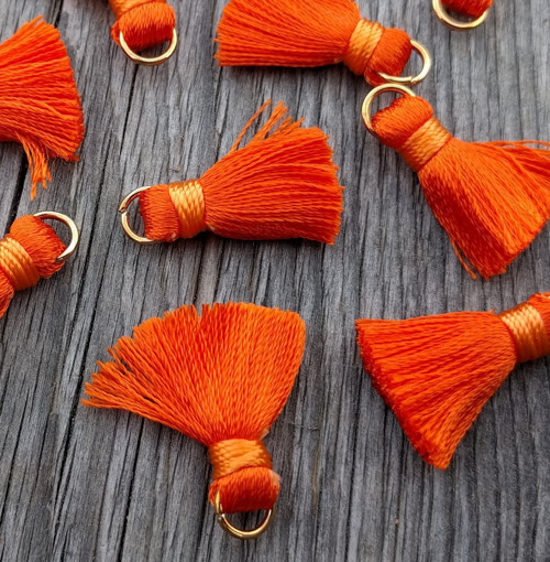Luxusní ozdobné střapce - oranžové, 2 kusy
