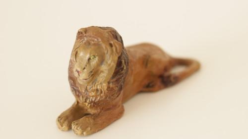 Starožitná hračka, hliněná zvířata Lev
