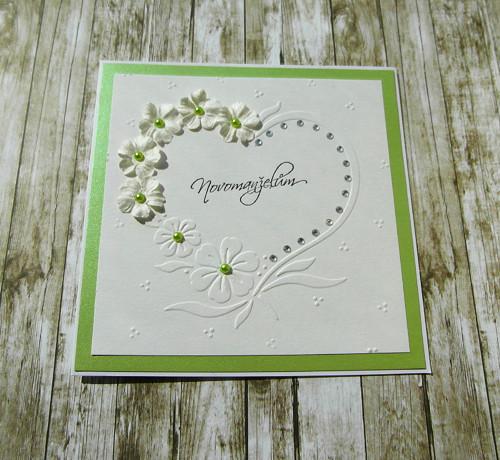 Přání novomaželům rozkvetlé srdce zelenkavé