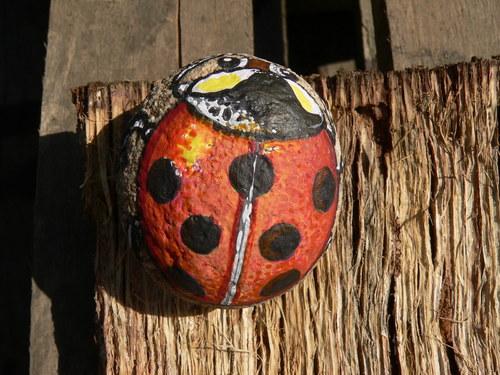 Beruška červená na kamínek malovaná