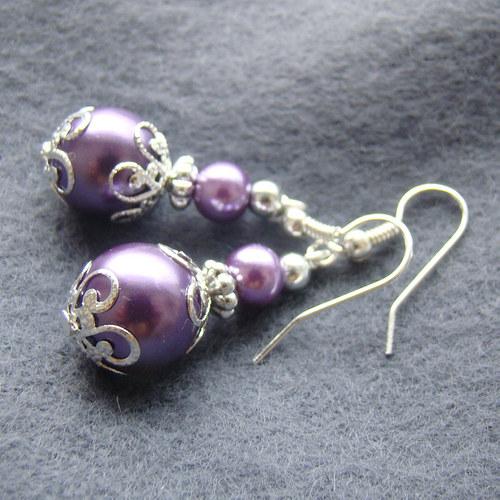 náušnice perličky lila