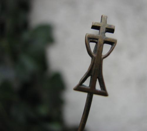 Kříž a kalich... kovová jehlice, odznak