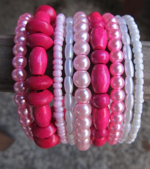 Náramek - Růžová v růžové a troška bílé