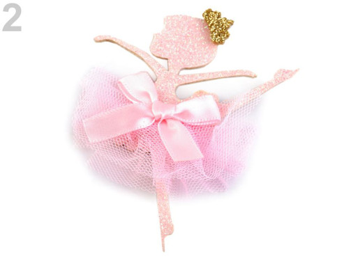 Textilní aplikace baletka (1ks) růžová