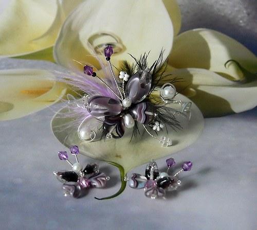 Motýlí extravagance - náramek a náušnice