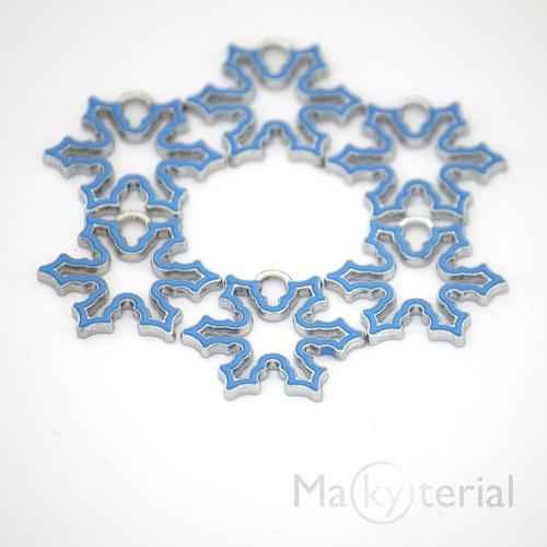 Vánoční vločka kovová - modrá- 2ks