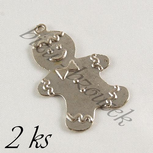 Perníček stříbrné barvy - 2ks
