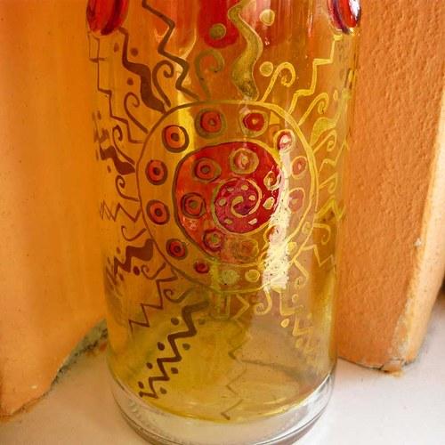 malovaná láhev