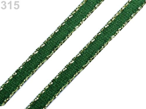 Atlasová stuha s lurexem 3 mm (20m) - zelená