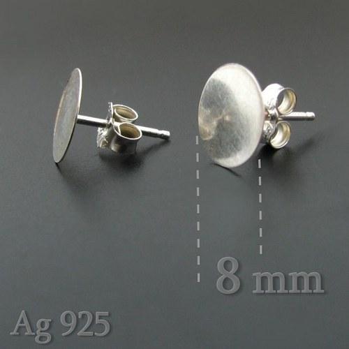 Puzety nalepovací (8mm) stříbro Ag925- 2ks (1 pár)